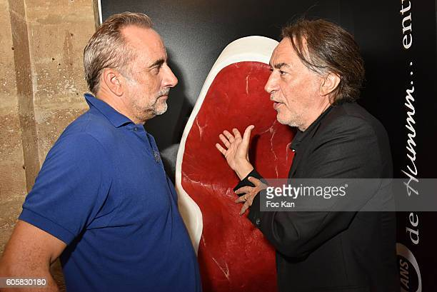 Actors Antoine Dulery and Richard Berry attend the 'Charal' 30th Anniversary Pop Up Store Opening Party at Rue des Halles on September 14 2016 in...