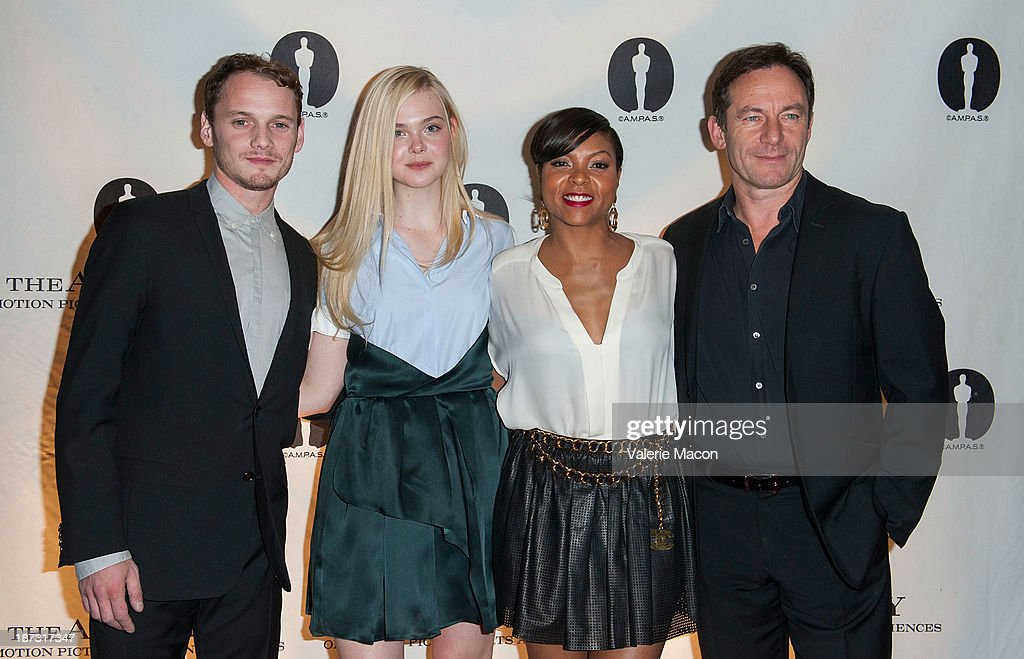 Actors <a gi-track='captionPersonalityLinkClicked' href=/galleries/search?phrase=Anton+Yelchin&family=editorial&specificpeople=793274 ng-click='$event.stopPropagation()'>Anton Yelchin</a>, <a gi-track='captionPersonalityLinkClicked' href=/galleries/search?phrase=Elle+Fanning&family=editorial&specificpeople=2189940 ng-click='$event.stopPropagation()'>Elle Fanning</a>, <a gi-track='captionPersonalityLinkClicked' href=/galleries/search?phrase=Taraji+P.+Henson&family=editorial&specificpeople=208823 ng-click='$event.stopPropagation()'>Taraji P. Henson</a> and <a gi-track='captionPersonalityLinkClicked' href=/galleries/search?phrase=Jason+Isaacs&family=editorial&specificpeople=212740 ng-click='$event.stopPropagation()'>Jason Isaacs</a> attend The Academy Of Motion Picture Arts And Sciences' Hosts The Academy Nicholl Fellowships In Screenwriting Awards at AMPAS Samuel Goldwyn Theater on November 7, 2013 in Beverly Hills, California.
