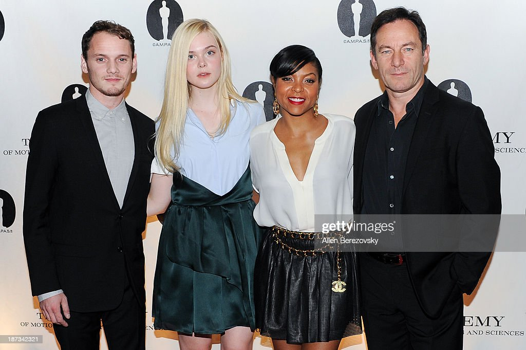 Actors <a gi-track='captionPersonalityLinkClicked' href=/galleries/search?phrase=Anton+Yelchin&family=editorial&specificpeople=793274 ng-click='$event.stopPropagation()'>Anton Yelchin</a>, <a gi-track='captionPersonalityLinkClicked' href=/galleries/search?phrase=Elle+Fanning&family=editorial&specificpeople=2189940 ng-click='$event.stopPropagation()'>Elle Fanning</a>, <a gi-track='captionPersonalityLinkClicked' href=/galleries/search?phrase=Taraji+P.+Henson&family=editorial&specificpeople=208823 ng-click='$event.stopPropagation()'>Taraji P. Henson</a> and <a gi-track='captionPersonalityLinkClicked' href=/galleries/search?phrase=Jason+Isaacs&family=editorial&specificpeople=212740 ng-click='$event.stopPropagation()'>Jason Isaacs</a> attend the AMPAS Academy Nicholl Fellowships in Screenwriting Awards at AMPAS Samuel Goldwyn Theater on November 7, 2013 in Beverly Hills, California.