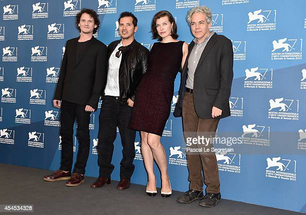 Actors Anton Yelchin John Leguizamo Milla Jovovich and director Michael Almereyda attend the 'Cymbeline' Photocall during the 71st Venice Film...