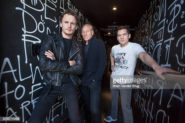 Actors Anton Yelchin left and Patrick Stewart center and director Jeremy Saulnier are photographed for Los Angeles Times on April 13 2016 in Los...