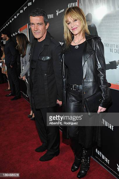 Actors Antonio Banderas and Melanie Griffith arrive to the premiere of Relativity Media's 'Haywire' at DGA Theater on January 5 2012 in Los Angeles...