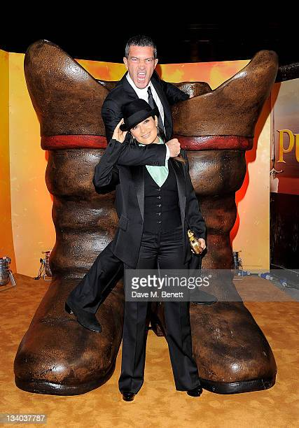 Actors Antonio Banderas and Salma Hayek arrive at the UK Premiere of 'Puss In Boots' at Empire Leicester Square on November 24 2011 in London England