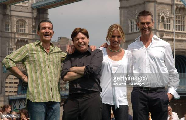 Actors Antonio Banderas Mike Myers Cameron Diaz and Rupert Everett at a photocall for new film Shrek 3 at Tower Bridgge in central London