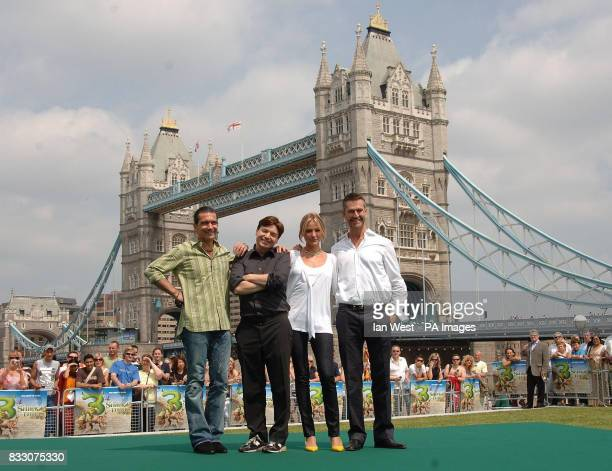Actors Antonio Banderas Mike Myers Cameron Diaz and Rupert Everett at a photocall for new film Shrek 3 at Tower Bridge in central London