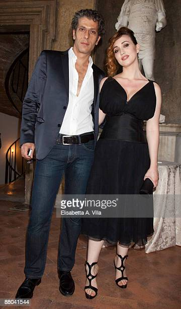 Actors Antonio Merone and Chiara Francini attend 2009 Nastri D'Argento Nominations Dinner Party at Villa Medici on May 28 2009 in Rome Italy