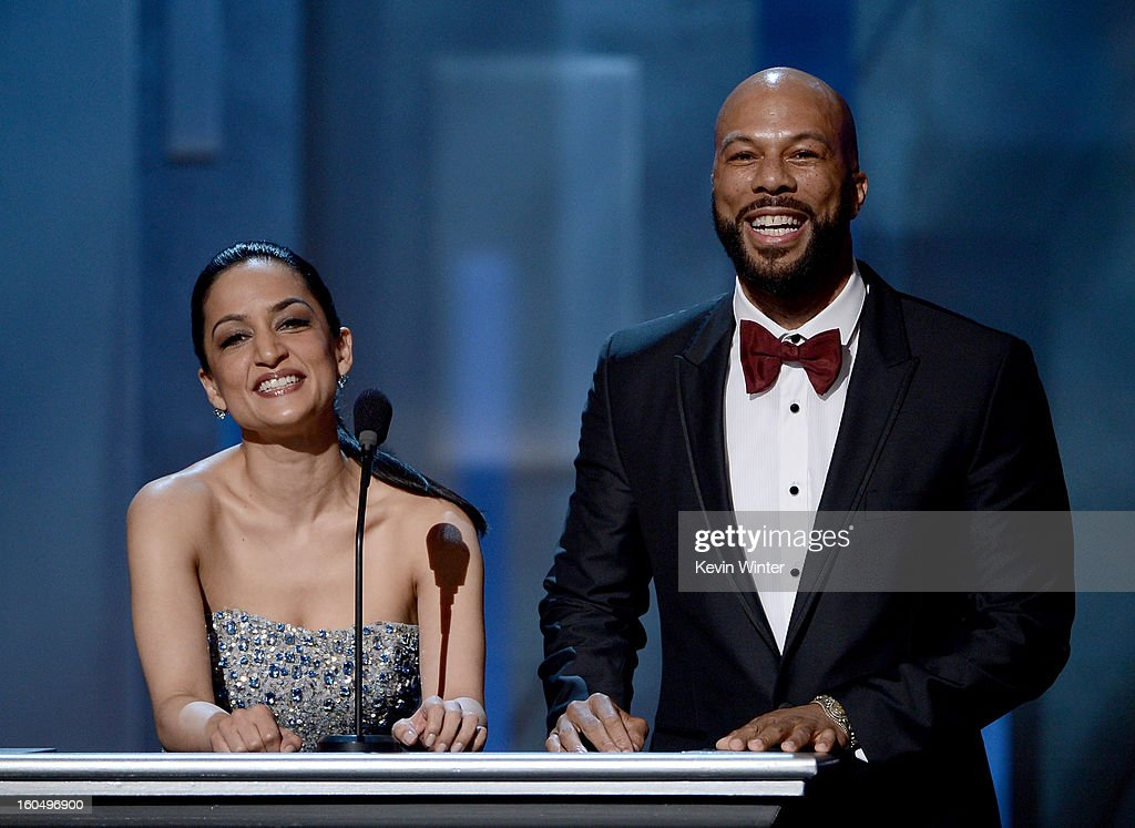 Actors <a gi-track='captionPersonalityLinkClicked' href=/galleries/search?phrase=Archie+Panjabi&family=editorial&specificpeople=811427 ng-click='$event.stopPropagation()'>Archie Panjabi</a> (L) and Common speak onstage during the 44th NAACP Image Awards at The Shrine Auditorium on February 1, 2013 in Los Angeles, California.