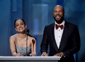 Actors Archie Panjabi and Common speak onstage during the 44th NAACP Image Awards at The Shrine Auditorium on February 1 2013 in Los Angeles...