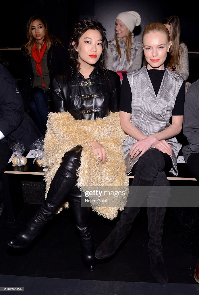 Actors Arden Cho (L) and <a gi-track='captionPersonalityLinkClicked' href=/galleries/search?phrase=Kate+Bosworth&family=editorial&specificpeople=201616 ng-click='$event.stopPropagation()'>Kate Bosworth</a> attend the Noon By Noor Fall 2016 fashion show during New York Fashion Week: The Shows at The Dock, Skylight at Moynihan Station on February 14, 2016 in New York City.