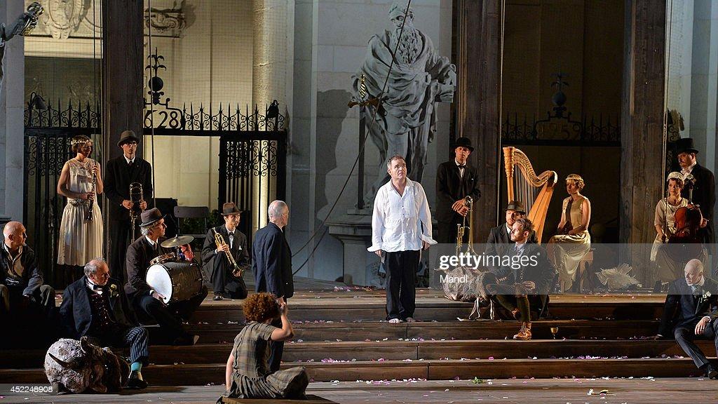 Actors are seen during the photo rehearsal of 'Jedermann' (Everyman) on the Domplatz ahead of Salzburg Festival 2014 on July 16, 2014 in Salzburg, Austria.