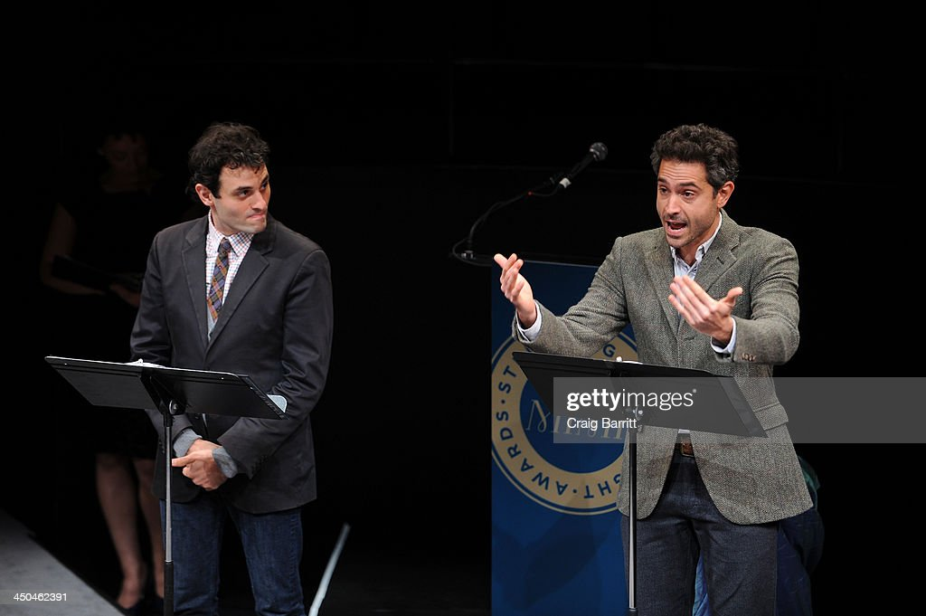 Actors Arian Moayed (L) and Omar Metwally perform onstage at The 2013 Steinberg Playwright 'Mimi' Awards presented by The Harold and Mimi Steinberg Charitable Trust at Lincoln Center Theater on November 18, 2013 in New York City.