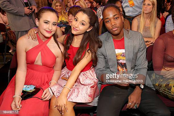 Actors Ariana Grande and Leon Thomas III seen backstage at Nickelodeon's 26th Annual Kids' Choice Awards at USC Galen Center on March 23 2013 in Los...
