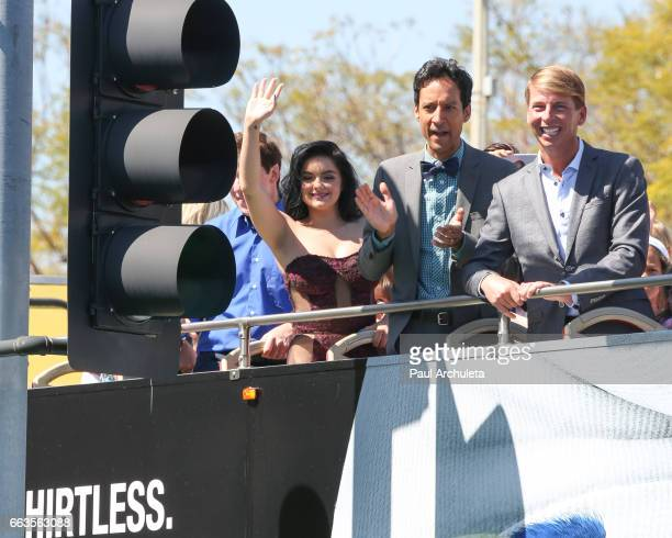 Actors Ariel Winter Danny Pudi and Jack McBrayer attend the premiere of 'Smurfs The Lost Village' at ArcLight Cinemas on April 1 2017 in Culver City...