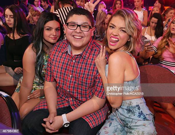 Actors Ariel Winter Rico Rodriguez and Sarah Hyland pose in the audience during Nickelodeon's 28th Annual Kids' Choice Awards held at The Forum on...
