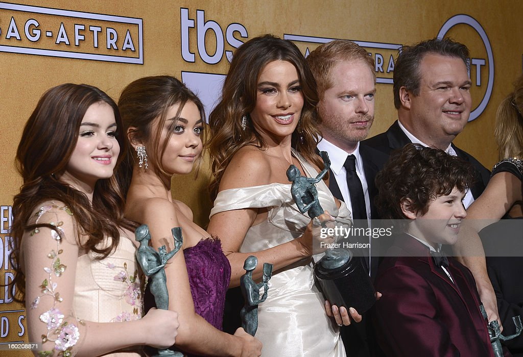 Actors Ariel Winter, Sarah Hyland, Sofia Vergara, Jesse Tyler Ferguson, Nolan Gould and Eric Stonestreet, winners of Outstanding Performance by an Ensemble in a Comedy Series for 'Modern Family,' pose in the press room during the 19th Annual Screen Actors Guild Awards held at The Shrine Auditorium on January 27, 2013 in Los Angeles, California.