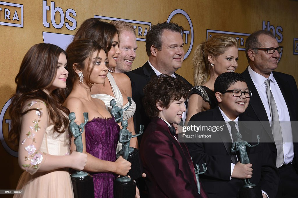 Actors Ariel Winter, Sarah Hyland, Sofia Vergara, Jesse Tyler Ferguson, Eric Stonestreet, Rico Rodriguez, Julie Bowen and Ed O'Neill, winners of Outstanding Performance by an Ensemble in a Comedy Series for 'Modern Family,' pose in the press room during the 19th Annual Screen Actors Guild Awards held at The Shrine Auditorium on January 27, 2013 in Los Angeles, California.