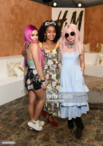Actors Ariel Winter Yara Shahidi and Dove Cameron attend HM Loves Coachella Tent during day 1 of the Coachella Valley Music Arts Festival at the...