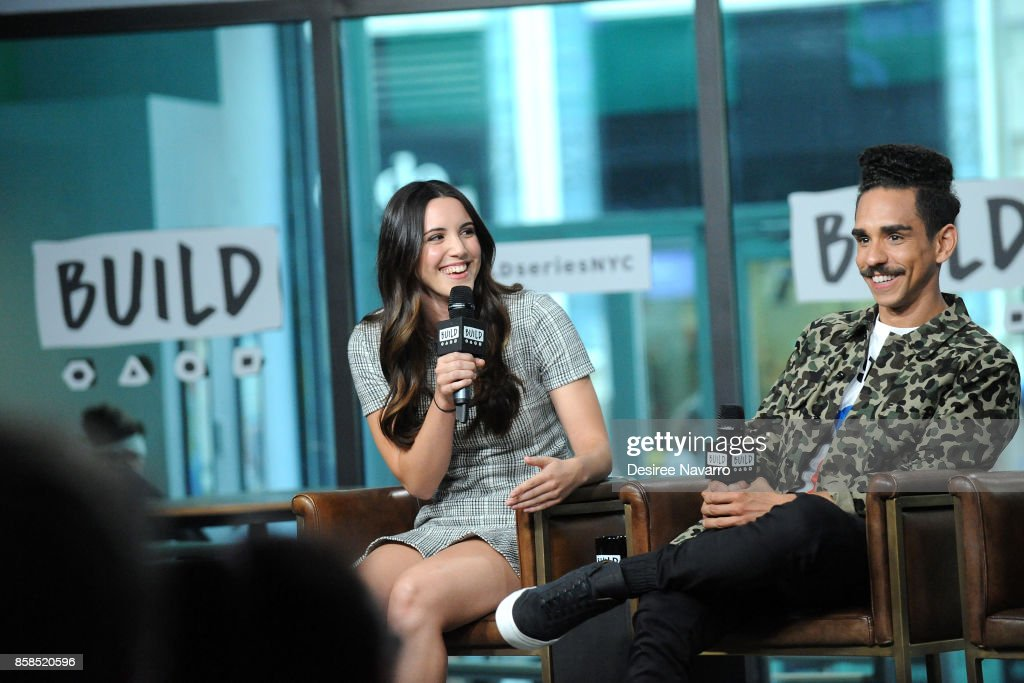 Actors Arielle Carver-O'Neill (L) and Ray Santiago visit Build to discuss 'Ash Vs Evil Dead' at Build Studio on October 6, 2017 in New York City.