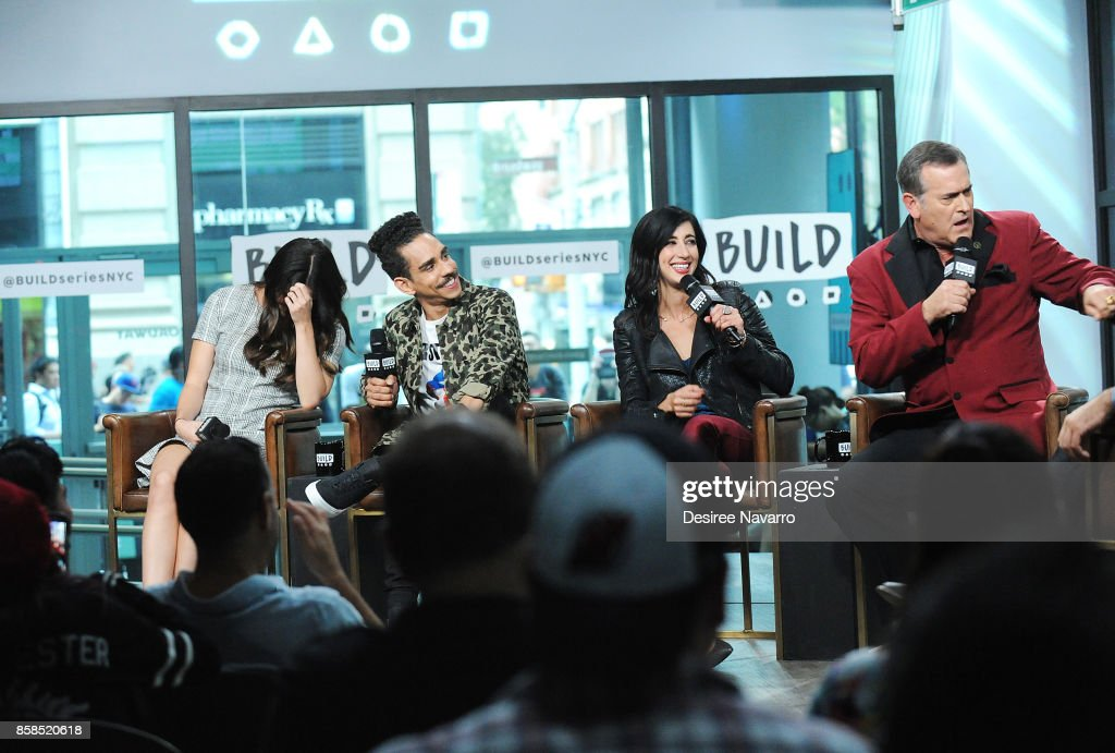 Actors Arielle Carver-O'Neill, Ray Santiago, Dana DeLorenzo and Bruce Campbell visit Build to discuss 'Ash Vs Evil Dead' at Build Studio on October 6, 2017 in New York City.
