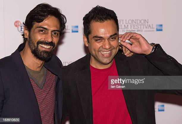 Actors Arjun Rampal and Abhay Deol attend the 'Chakravyuh' photocall during the 56th BFI London Film Festival at the Empire Leicester Square on...
