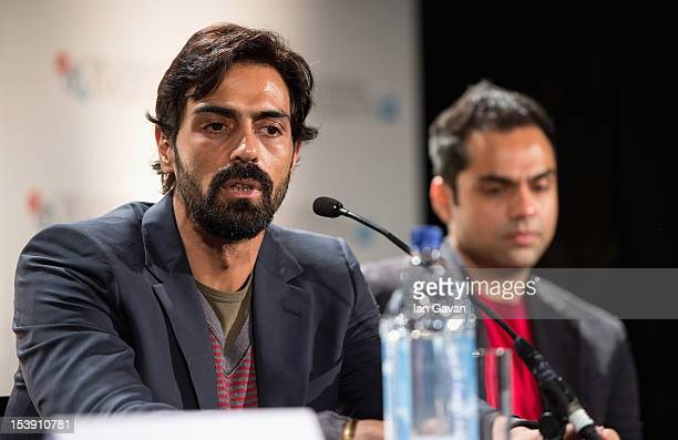 Actors Arjun Rampal and Abhay Deol attend the 'Chakravyuh' press conference during the 56th BFI London Film Festival at the Empire Leicester Square...