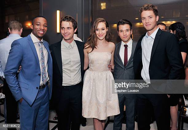 Actors Arlen Escarpeta Max Deacon Alycia DebnamCarey Nathan Kress and Jeremy Sumpter attend the afterparty for the premiere of 'Into The Storm' at...
