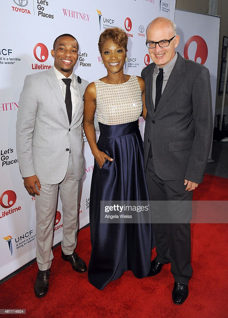 Actors Arlen Escarpeta, Yolanda Ross and writer Shem Bitterman arrive at the premiere of Lifetime's 'Whitney' at The Paley Center for Media on January 6, 2015 in Beverly Hills, California.