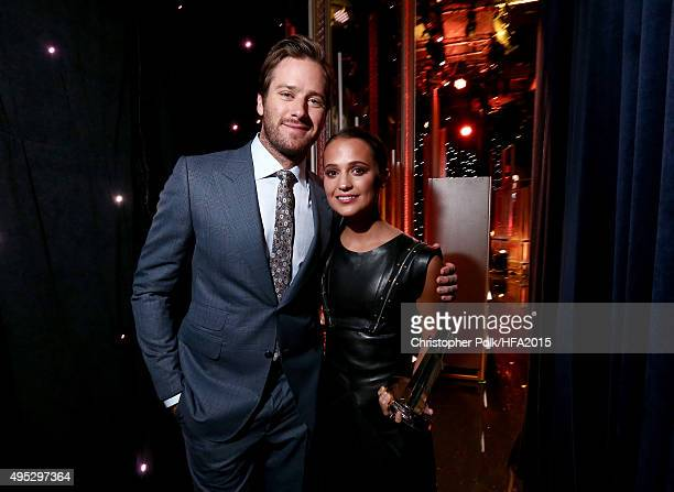 Actors Armie Hammer and Alicia Vikander winner of the Hollywood Breakout Actress Award for 'The Danish Girl' attend the 19th Annual Hollywood Film...
