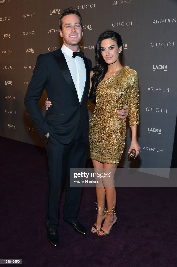 Actors <a gi-track='captionPersonalityLinkClicked' href=/galleries/search?phrase=Armie+Hammer&family=editorial&specificpeople=5313113 ng-click='$event.stopPropagation()'>Armie Hammer</a> and <a gi-track='captionPersonalityLinkClicked' href=/galleries/search?phrase=Elizabeth+Chambers&family=editorial&specificpeople=5295153 ng-click='$event.stopPropagation()'>Elizabeth Chambers</a> arrive at LACMA 2012 Art + Film Gala Honoring Ed Ruscha and Stanley Kubrick presented by Gucci at LACMA on October 27, 2012 in Los Angeles, California.