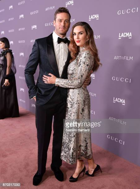 Actors Armie Hammer and Elizabeth Chambers attend the 2017 LACMA Art Film Gala Honoring Mark Bradford and George Lucas presented by Gucci at LACMA on...