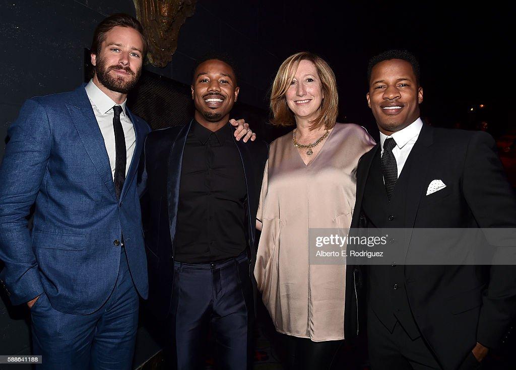 Actors Armie Hammer and Michael B Jordan Keri Putnam Executive Director at Sundance Institute and Vanguard Award recipient Nate Parker attend the...