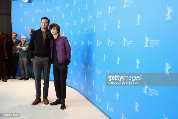 Actors Armie Hammer and Timothee Chalamet attend the 'Call Me by Your Name' photo call during the 67th Berlinale International Film Festival Berlin...
