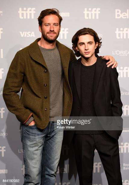 Actors Armie Hammer and Timothee Chalamet attend the 'Call Me By Your Name' press conference during 2017 Toronto International Film Festival at TIFF...