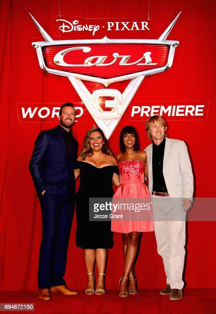 """Actors Armie Hammer Cristela Alonzo Kerry Washington and Owen Wilson pose at the World Premiere of Disney/Pixar's """"Cars 3' at the Anaheim Convention..."""