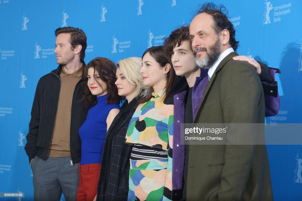 Actors Armie Hammer, Esther Garrel, Victoire Du Bois, Amira Casar, Timothee Chalamet and director Luca Guadagnino attend the 'Call Me by Your Name' photo call during the 67th Berlinale International Film Festival Berlin at Grand Hyatt Hotel on February 13, 2017 in Berlin, Germany.