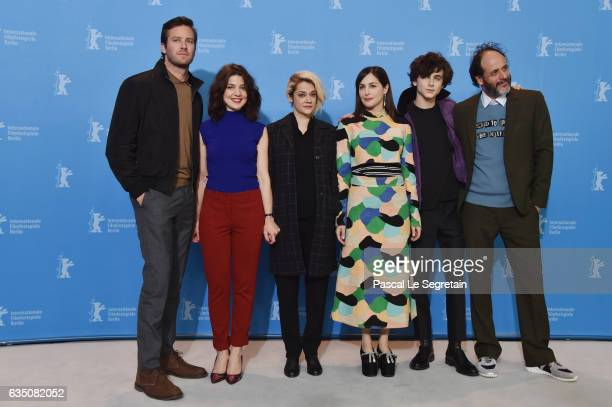 Actors Armie Hammer Esther Garrel Victoire Du Bois Amira Casar Timothee Chalamet and director Luca Guadagnino attend the 'Call Me by Your Name' photo...