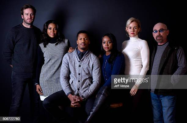 Actors Armie Hammer Gabrielle Union Nate Parker Aja Naomi King Penelope Ann Miller and Jackie Earle Haley from the film 'The Birth of a Nation' poses...
