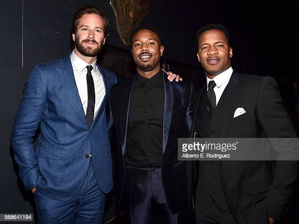 Actors Armie Hammer Michael B Jordan and Vanguard Award recipient Nate Parker attend the Sundance Institute NIGHT BEFORE NEXT Benefit at The Theatre...
