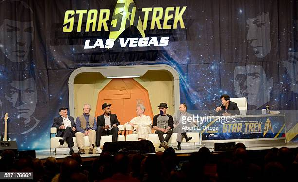 Actors Armin Shimerman Andrew Robinson Cirroc Lofton Rene Auberjonois producer Ira Steven Behr Jeffrey Combs and moderator Adam Malin on day 5 of...