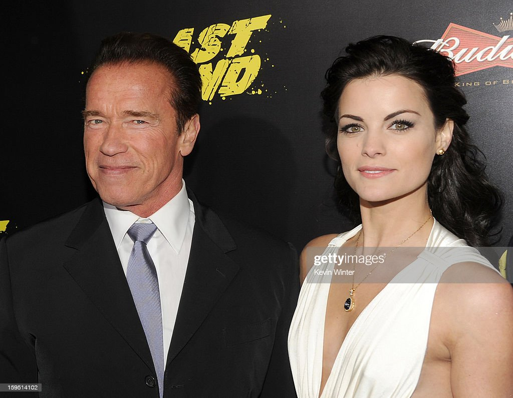 Actors Arnold Schwarzenegger (L) and Jaimie Alexander arrive at the premiere of Lionsgate Films' 'The Last Stand' at Grauman's Chinese Theatre on January 14, 2013 in Hollywood, California.