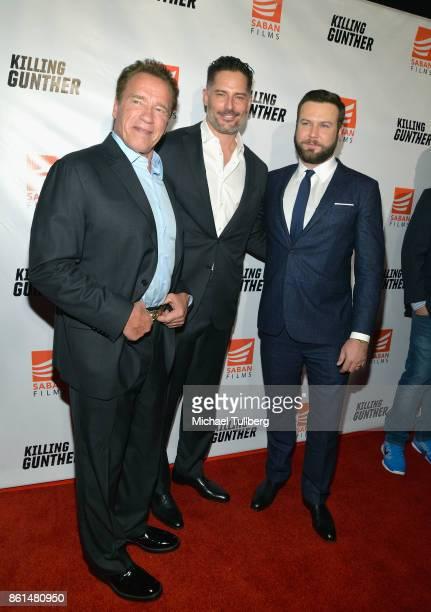 Actors Arnold Schwarzenegger and Joe Manganiello and director/writer/actor Taran Killam attend the premiere of Saban Films' 'Killing Gunther' at TCL...