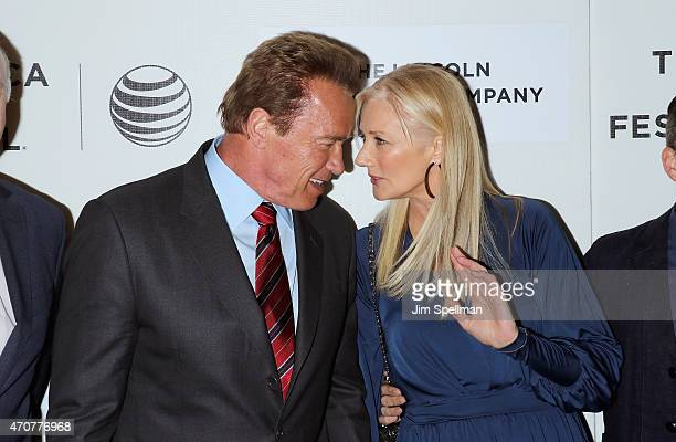 Actors Arnold Schwarzenegger and Joely Richardson attend the 2015 Tribeca Film Festival world premiere narrative 'Maggie' at BMCC Tribeca PAC on...