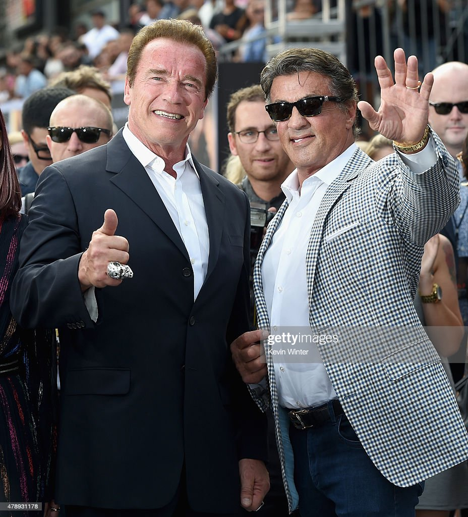 Actors Arnold Schwarzenegger (L) and Sylvester Stallone attend the LA Premiere of Paramount Pictures' 'Terminator Genisys' at the Dolby Theatre on June 28, 2015 in Hollywood, California.