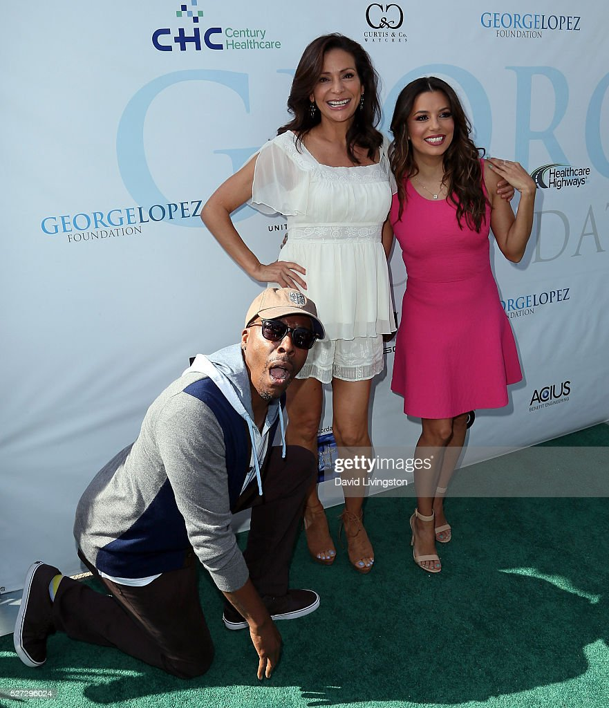 Actors Arsenio Hall, Constance Marie and Eva Longoria attend the Ninth Annual George Lopez Celebrity Golf Classic at Lakeside Golf Club on May 2, 2016 in Burbank, California.
