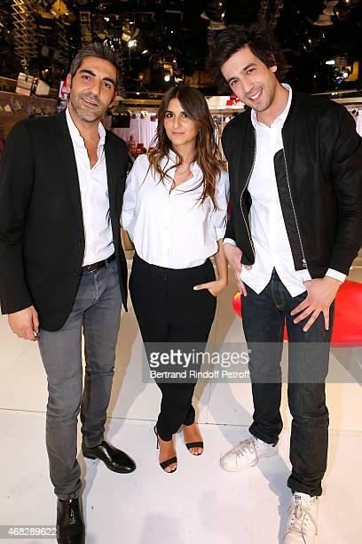 Actors Ary Abittan Geraldine Nakache and Max Boublil present the movie 'Robin des bois la veritable histoire' during the 'Vivement Dimanche' French...
