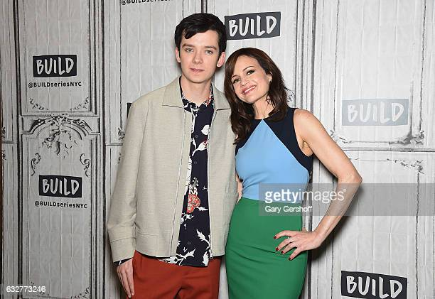 Actors Asa Butterfield and Carla Gugino attend the Build Series to discuss the film 'The Space Between Us' at Build Studio on January 26 2017 in New...