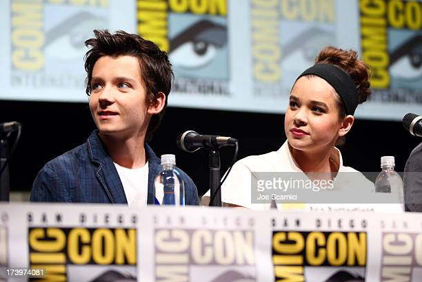 Actors Asa Butterfield and Hailee Steinfeld speak onstage at the 'Ender's Game' press conference during ComicCon International 2013 at San Diego...