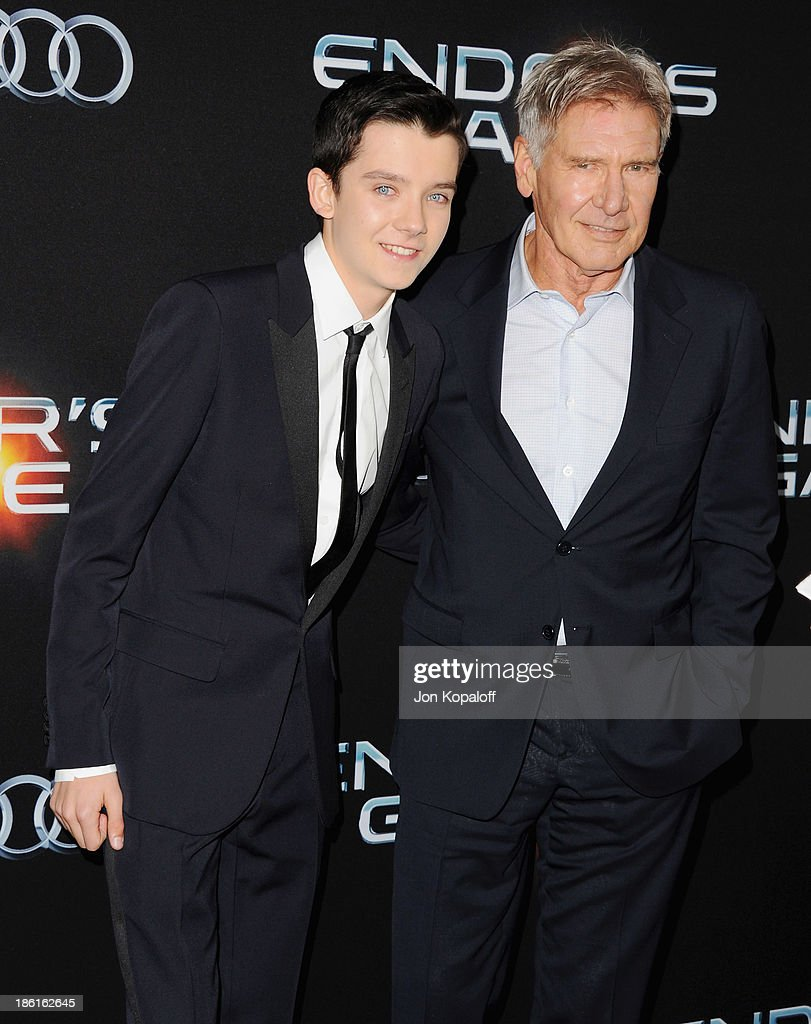 Actors <a gi-track='captionPersonalityLinkClicked' href=/galleries/search?phrase=Asa+Butterfield&family=editorial&specificpeople=5523693 ng-click='$event.stopPropagation()'>Asa Butterfield</a> and <a gi-track='captionPersonalityLinkClicked' href=/galleries/search?phrase=Harrison+Ford+-+Actor+-+Born+1942&family=editorial&specificpeople=11508906 ng-click='$event.stopPropagation()'>Harrison Ford</a> arrive at the Los Angeles Premiere 'Ender's Game' at TCL Chinese Theatre on October 28, 2013 in Hollywood, California.