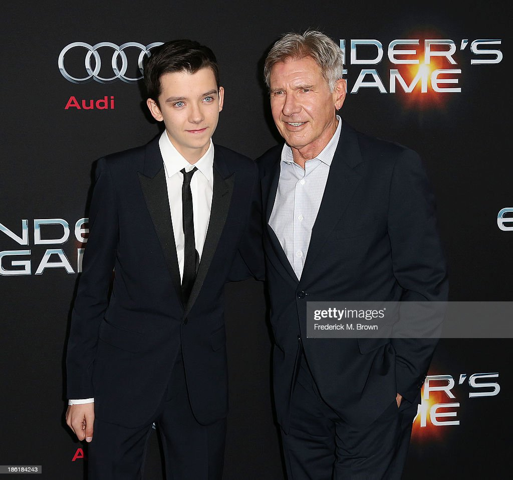 Actors Asa Butterfield (L) and Harrison Ford attend the Premiere of Summit Entertainment's 'Ender's Game' at the TCL Chinese Theatre on October 28, 2013 in Hollywood, California.