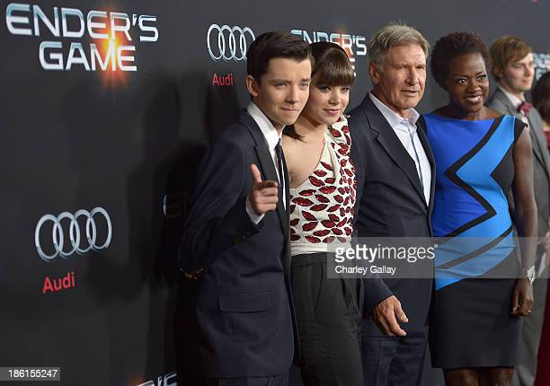 Actors Asa Butterfield Hailee Steinfeld Harrison Ford and Viola Davis attend the premiere of 'Ender's Game' presented by Audi at TCL Chinese Theatre...